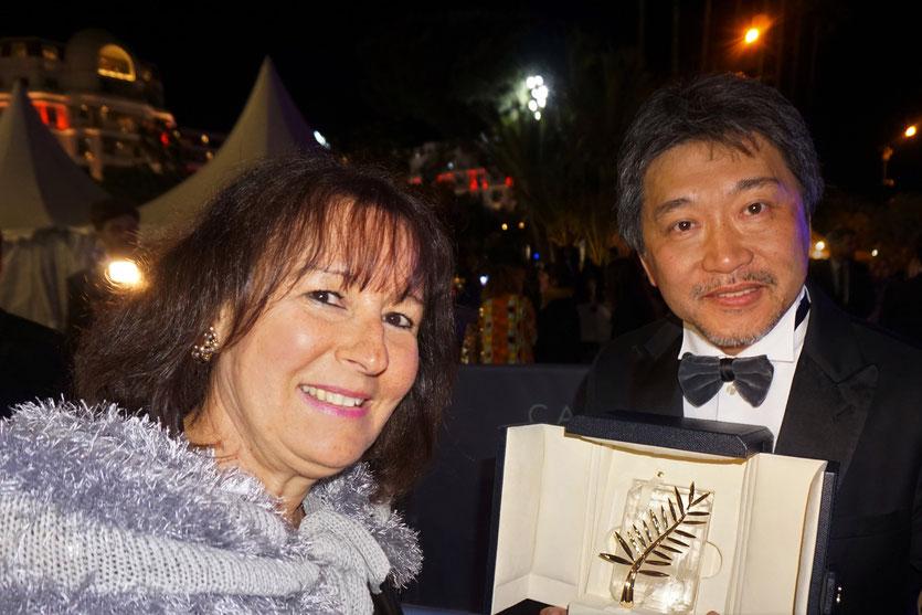 En compagnie du réalisateur japonais, Hirokazu Kore-eda - Palme d'or, pour son film, «Une affaire de famille » - Festival de Cannes 2018 - Photo © Anik Couble