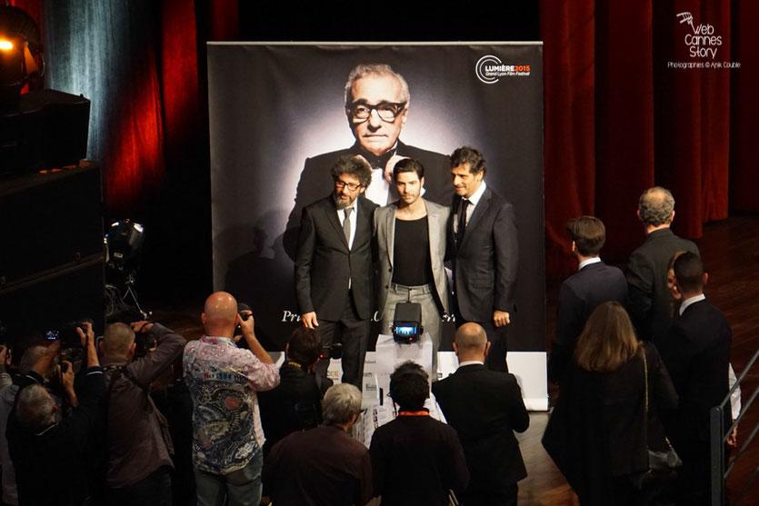 Radu Mihaileanu, Tahar Rahim et Pascal Elbé -  Prix Lumière à Martin Scorsese - Festival Lumière - Lyon - Oct 2015 - Photo © Anik COUBLE