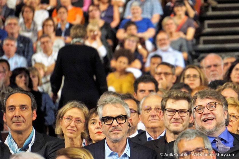 Alexandre Desplat, Alfonso Cuarón et Guillermo del Toro, parmi les invités de la Halle Tony lors de la cérémonie d'ouverture - Festival Lumière 2017 - Lyon - Photo © Anik Couble