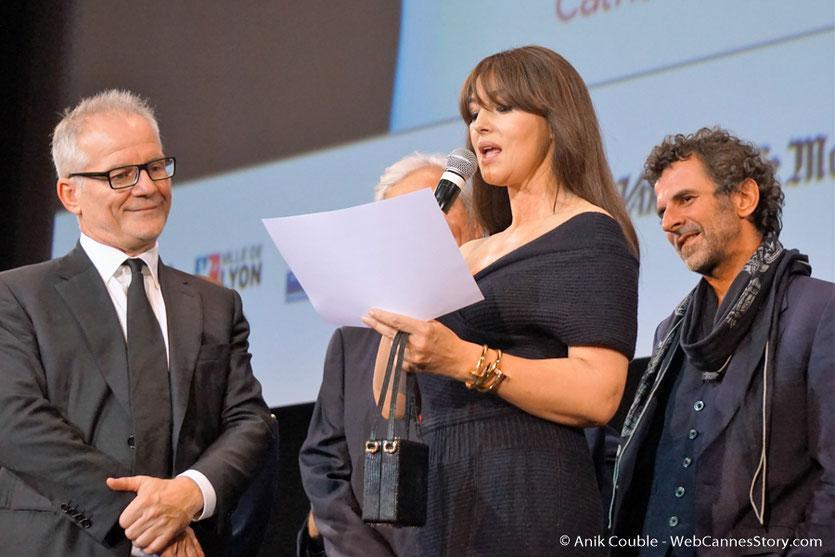 Monica Bellucci, sur la scène  de la Halle Tony Garnier - Cérémonie d'ouverture - Festival Lumière 2016 - Lyon - Photo © Anik Couble