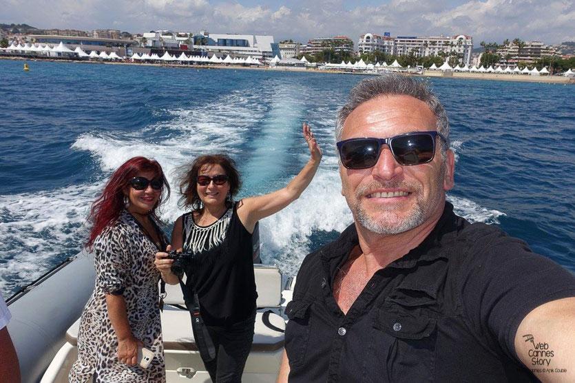 """En route, avec Esméralda Petit Benito et Serge Mauro,  pour la visite du """"Sam Simon"""", l'un des bateaux de la fondation Sea Shepherd - Festival de Cannes 2016 - Photo © Anik Couble"""