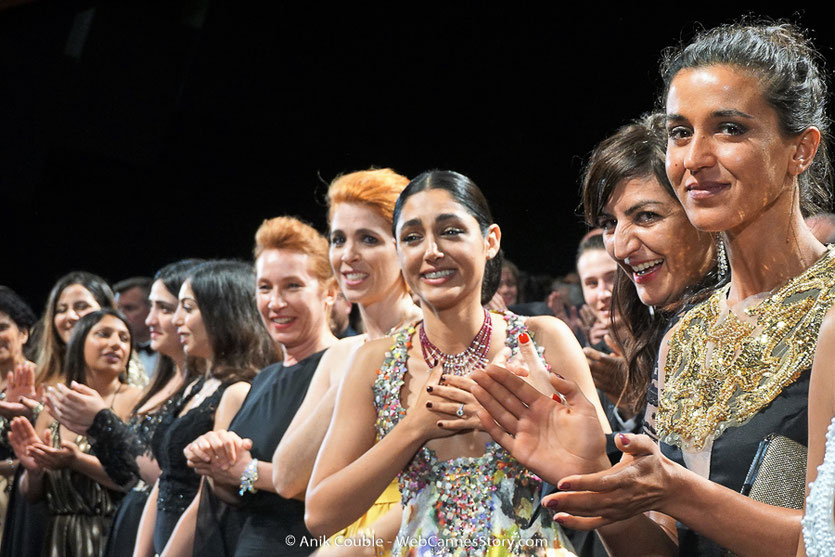 L'équipe du film, Les Filles du soleil (Girls of the sun) d'Eva Husson avec Golshifteh Farahani, Emmanuelle Bercot, Zübeyde Bulut, Sinama Alievi, présenté en sélection officielle - Festival de Cannes 2018 - Photo © Anik Couble