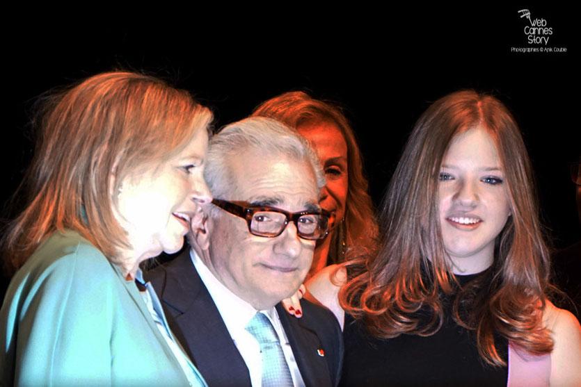 Martin Scorsese, entouré de sa femme Helen Morris et de sa fille Francesca - Remise du Prix Lumière - Festival Lumière - Lyon - Oct 2015 - Photo © Anik COUBLE