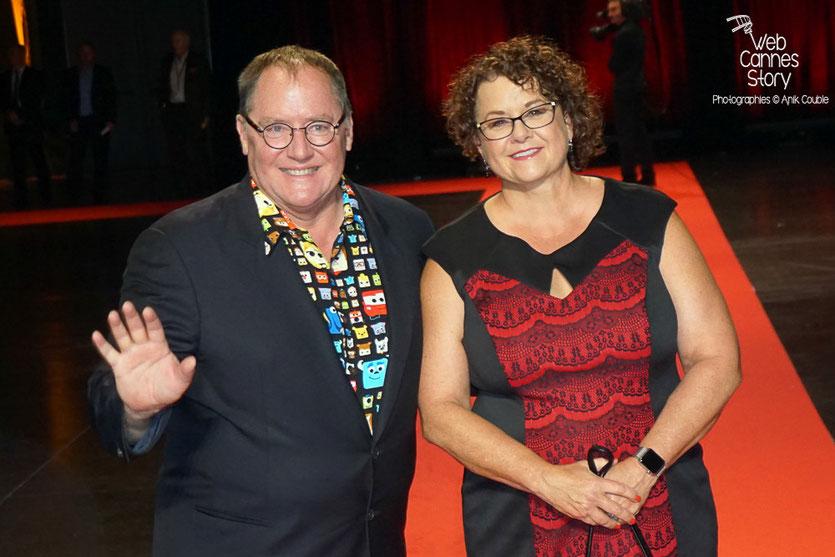 John Lasseter et son épouse, lors de la cérémonie d'ouverture du Festival Lumière 2015  - Lyon - Photo © Anik COUBLE