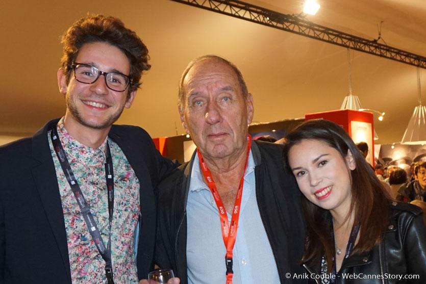 Max Lefrancq-Lumière, entouré de Camille Sarrazin et François Malllet, étudiants à l'IEP de Lyon  - Village du Festival -  Festival Lumière 2016 - Lyon - Photo © Anik Couble
