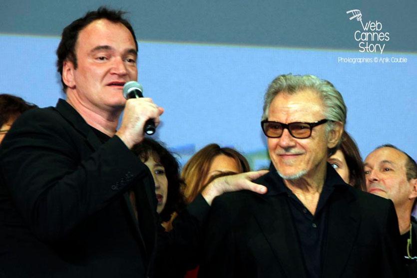 Quentin Tarantino et Harvey Keitel, sur la scène de la Halle Tony Garnier - Clôture du Festival Lumière - Lyon - 2013 - Photo © Anik COUBLE