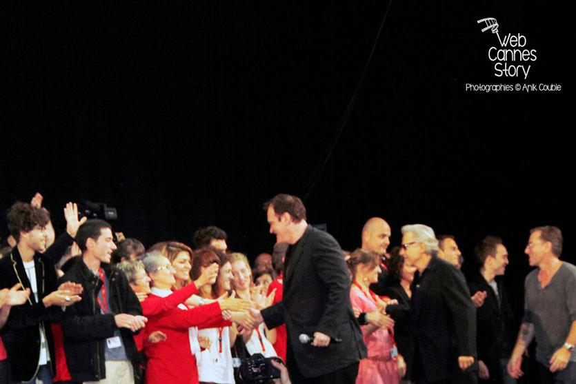 Quentin Tarantino, Harvey Keitel et Tim Roth à la rencontre des bénévoles - Halle Tony Garnier - Clôture du Festival Lumière - Lyon - 2013 - Photo © Anik COUBLE