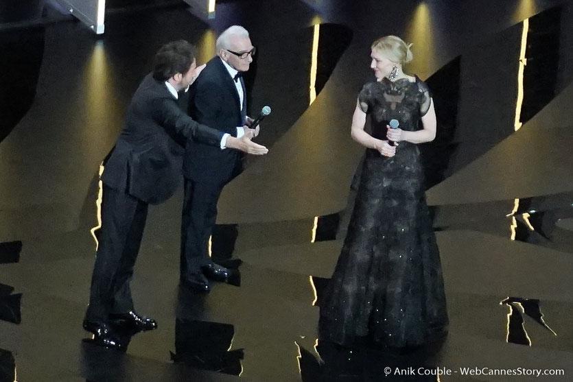Edouard Baer, invitant Martin Scorsese et Cate Blanchett, à déclarer, ouvert, le Festival de Cannes 2018 - Photo © Anik Couble