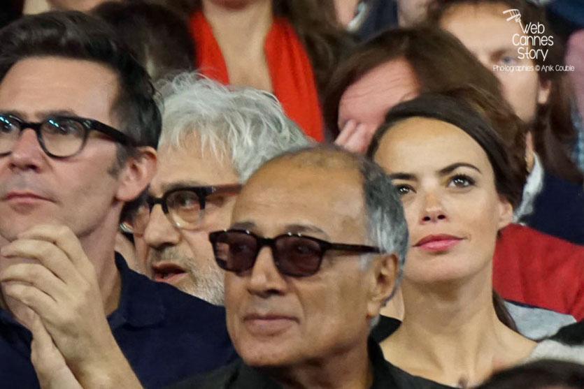 Abbas Kiarostami entouré de Bérénice Bejo, Michel Hazanavicius et Elia Suleiman - Clôture du Festival Lumière 2015 - Lyon  - Photo © Anik COUBLE