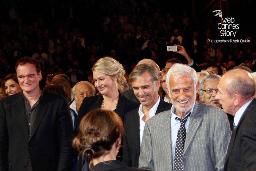 Jean-Paul Belmondo, entouré de son fils Paul, de Quentin Tarantino, Gérard Collomb - Festival Lumière - Lyon - Oct 2013 - Photo © Anik COUBLE