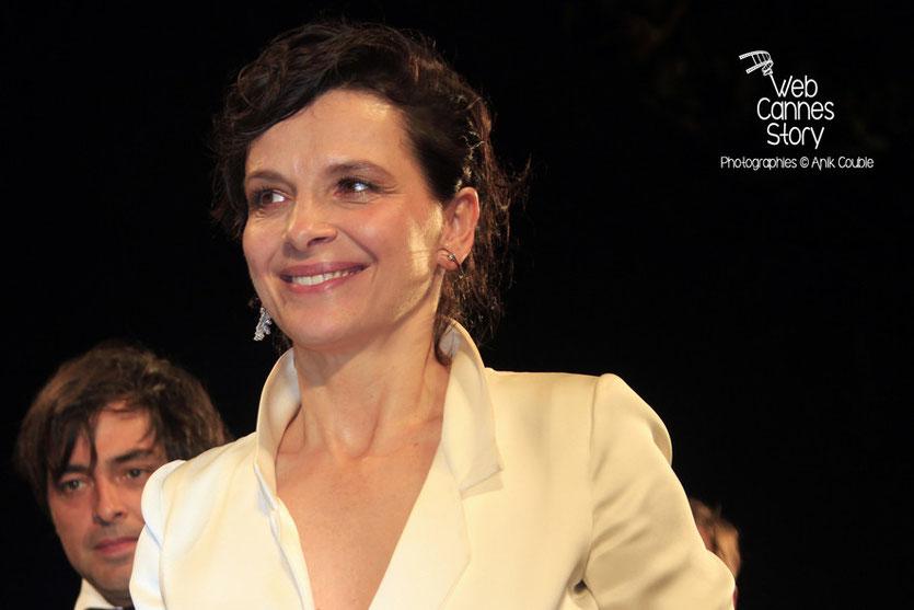 Juliette Binoche, lors de la présentation du film «Sils Maria» d'Olivier Assayas - Festival de Cannes 2014 - Photo © Anik COUBLE