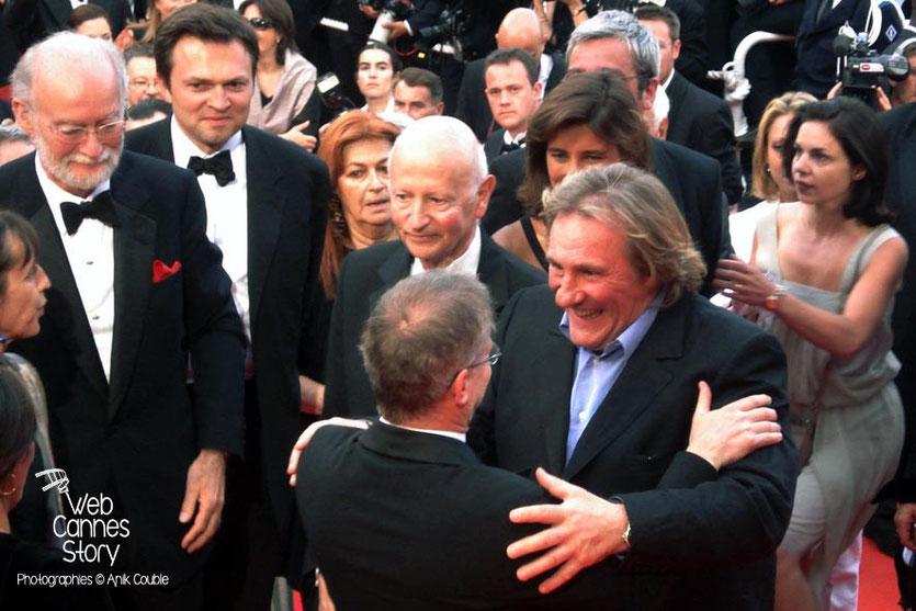 Gilles Jacob en compagnie de Nicolas Seydoux, Gérard Depardieu et Thierry Fremaux - Festival de Cannes 2007 - Photo © Anik COUBLE