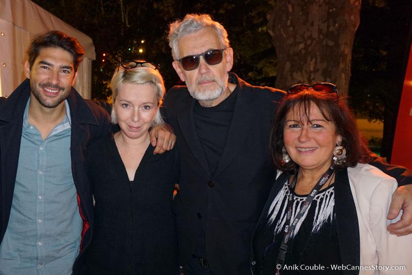 Ma sympathique rencontre avec Louis Hamelin, Mary-Noëlle Dana, Yves Bongarçon, les  formidables chroniqueurs de Radio Lumière, lors du Festival Lumière 2017,  à Lyon - Photo © Anik Couble