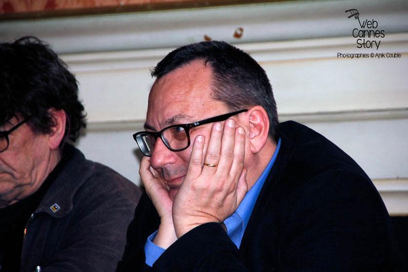 Jérome Leroy, lauréat du Prix des lecteurs, lors de la Conférence « 20 ans du Poulpe »  - Quais du Polar 2015 - Lyon - Photo © Anik COUBLE