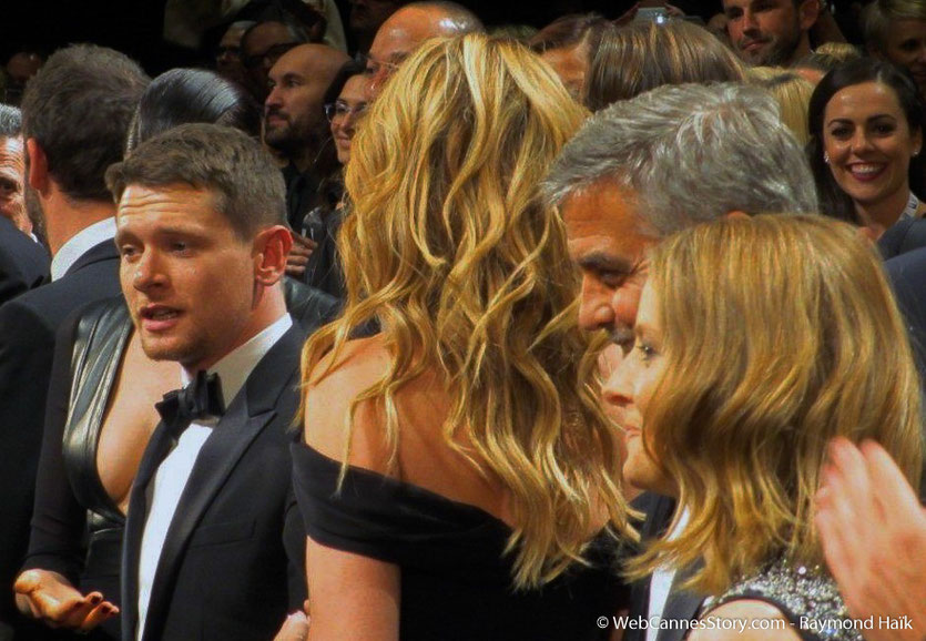 "Jodie Foster entouré de  George Clooney et Julia Roberts , lors de la projection de son  film "" Money Monster""  - Festival de Cannes 2016 - Photo © Anik Couble"