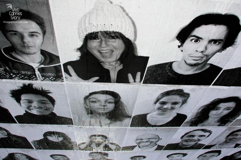 """Le portrait d'Anik couble, installé à côté de celui de Tewfik Jallab - projet """"Inside Out"""" de l'Artiste JR -  Lyon - Déc 2013 - Photo © Anik COUBLE"""