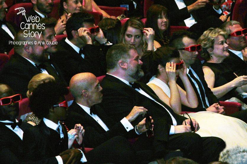 Jeffrey Katzenberg,  PDG de DreamWorks et Dean DeBlois, à l'occasion des 20 ans de DreamWorks, fêté lors de la projection  de «Dragon 2»,  réalisé par Dean DeBlois - Festival de Cannes 2014 - Photo ©