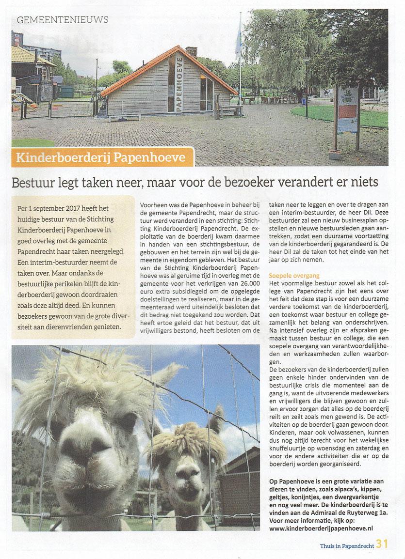 Artikel verschenen in 'Thuis in Papendrecht'