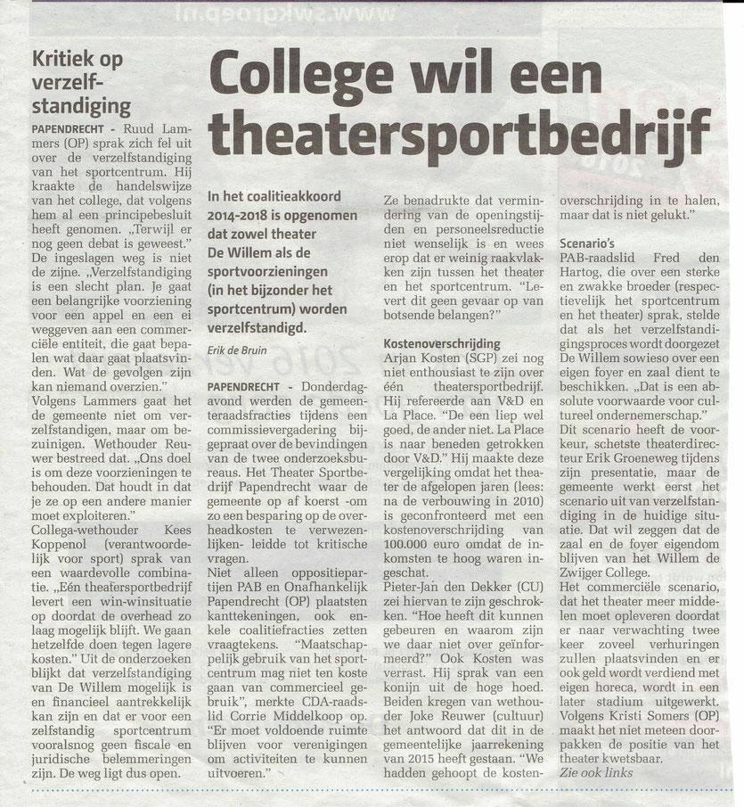 Papendrechts Nieuwsblad, januari 2016