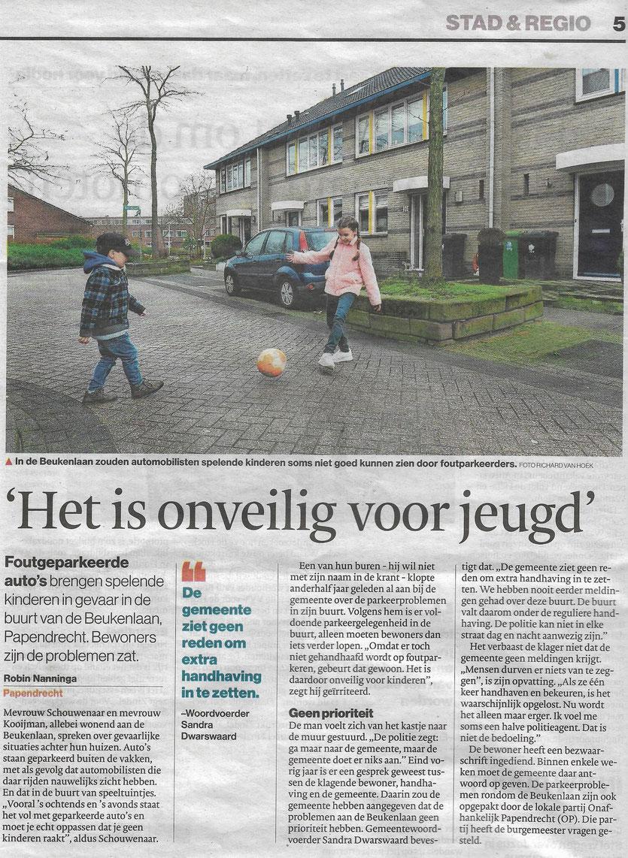 Artikel verschenen in het Algemeen Dagblad katern Drechtsteden van 31 januari 2019