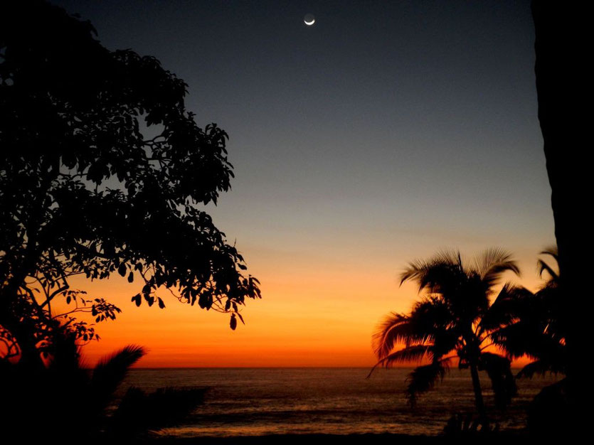 Sunset and moon from Casas Pelicano's terrace