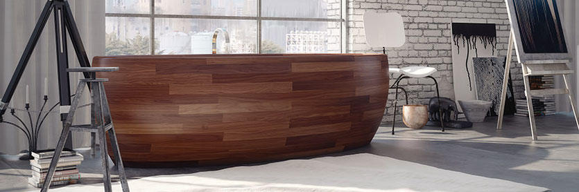 freistehende badewannen mineralguss und holz im angebot. Black Bedroom Furniture Sets. Home Design Ideas