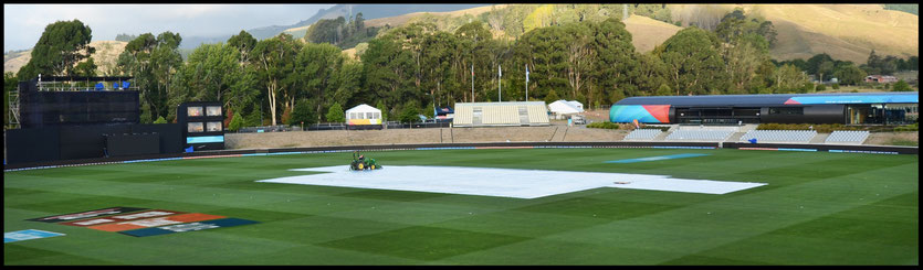 Cricket Pitch Covers at Saxton Stadium for the ICC World Cup Cricket, Nelson, New Zealand