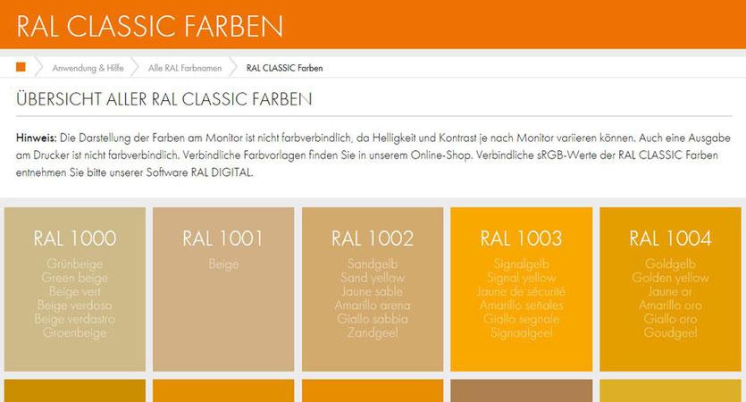 RAL Farben classic