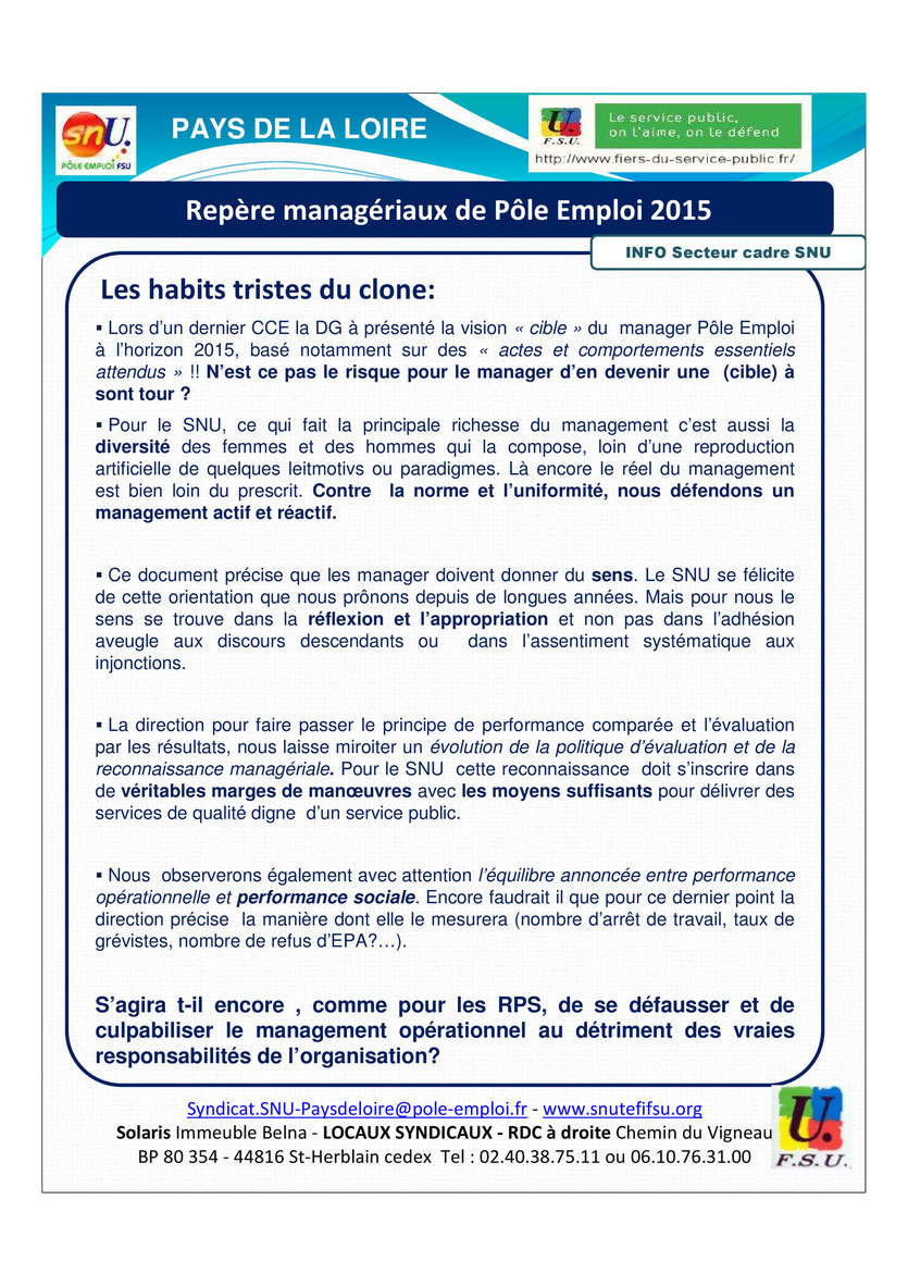 POLE EMPLOI 2015 REPERES MANAGERIAUX
