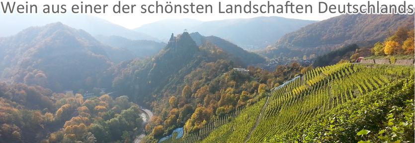 DIe Weine von der Ahr wachsen in einer der schönsten Landschaften Deutschlands, wie zum Beispiel in der Weinbergslage Altenahrer Eck.