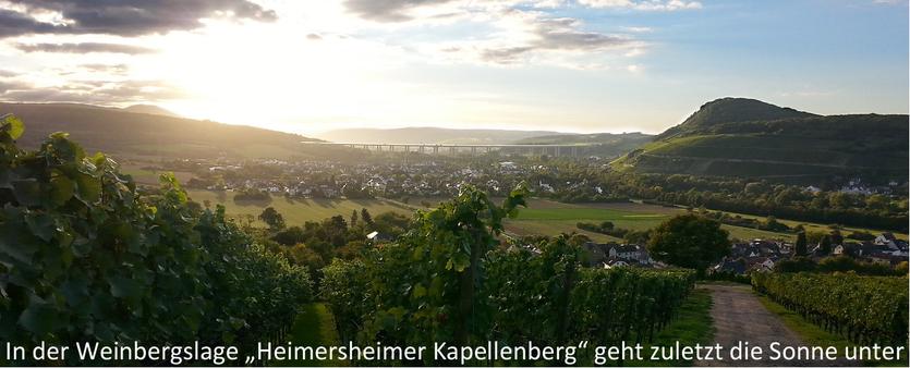 """Die Weinbergslage """"Heimersheimer Kapellenberg"""" ermöglicht sehr gute Weine und besonders schöne Sonnenuntergänge. Im Ahrweindepot können Sie online die besten Weine aus einer traumhaften Landschaft bestellen."""