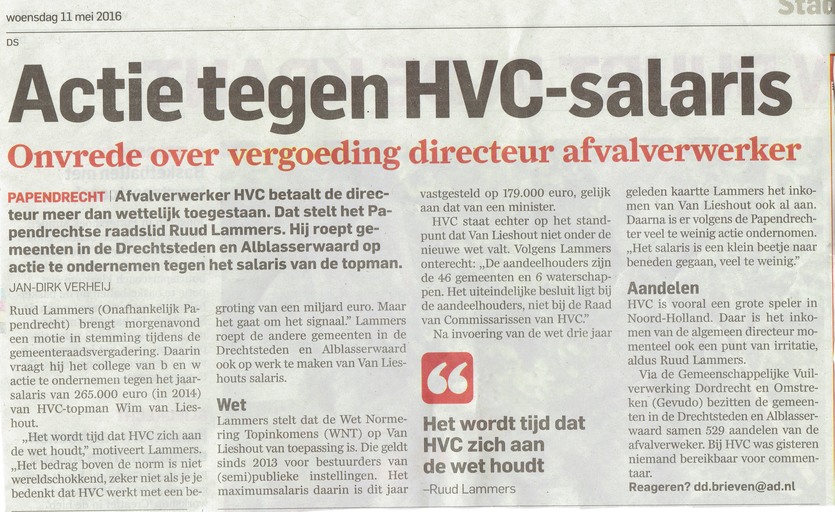 Artikel Algemeen Dagblad 11 mei 2016