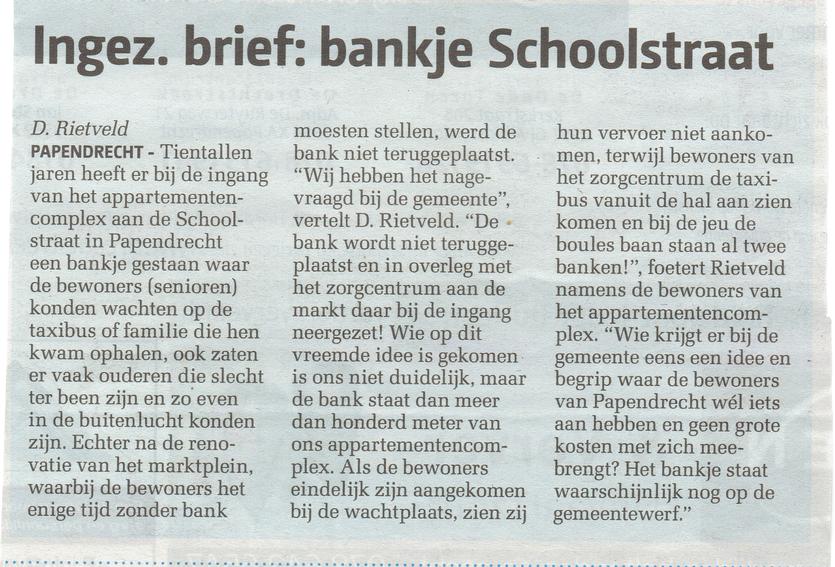 Artikel verschenen in het Papendrechts Nieuwsblad op woensdag 12 oktober 2016