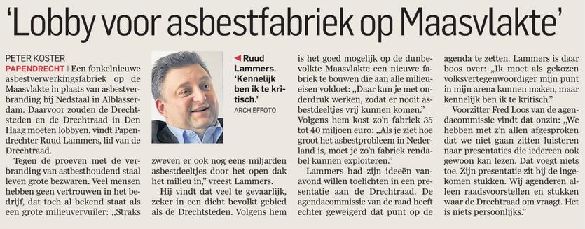 Artikel verschenen in AD De Dordtenaar op 7 oktober 2014