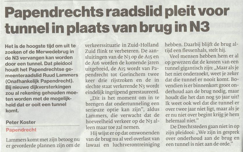Artikel verschenen in Algemeen Dagblad De Dordtenaer op 13 januari 2017