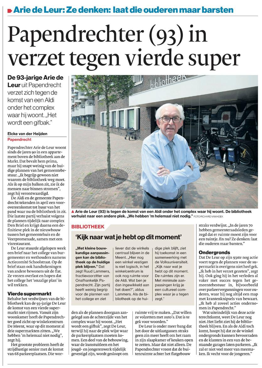 Artikel verschenen in Algemeen Dagblad De Dordtenaar d.d. donderdag 22 juni 2017