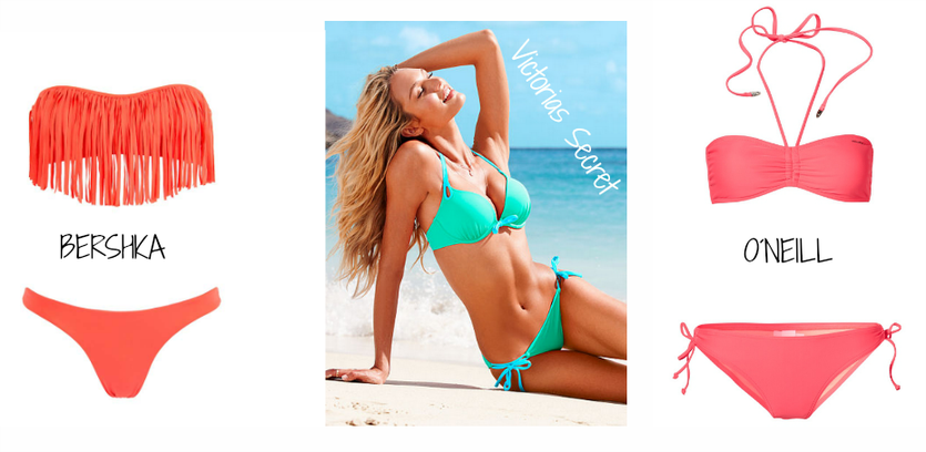 Strandgut   Tragbare Strandmode 2013   Neon Bikini Trends 2013   Bershka Neon Fringe Bikini   O´neill Neon Bandeau Bikini
