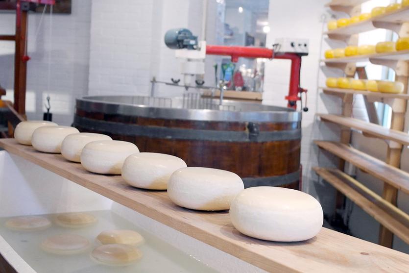 Kleiner Käseladen mitten in Amsterdam der die traditionelle Herstellung des gelben Laibes präsentiert