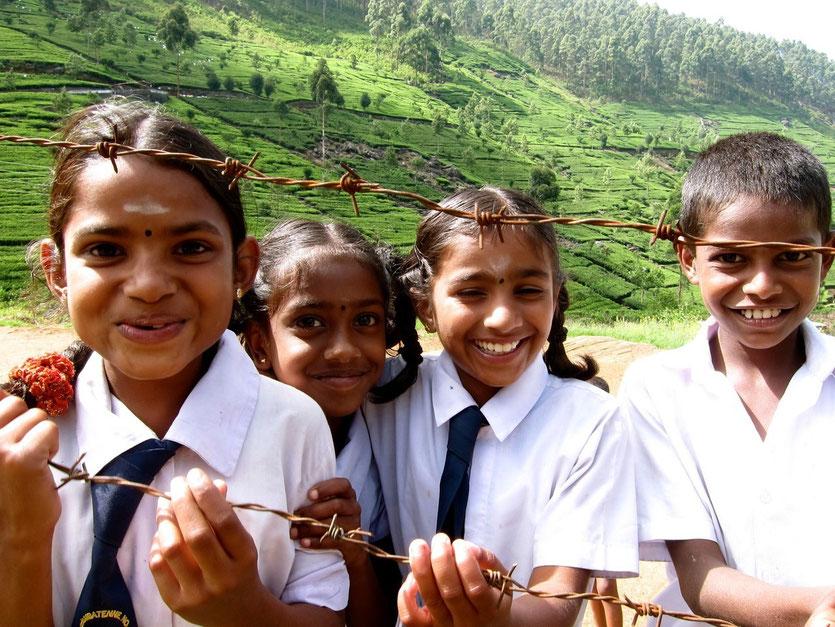 School Children at Dembatenne Tea plantation Sri Lanka
