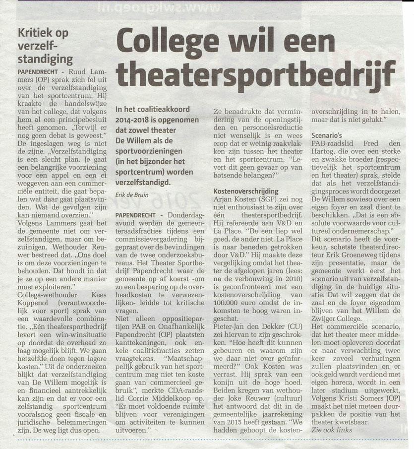 Gepubliceerd in het Papendrechts Nieuwsblad van 20 januari 2016