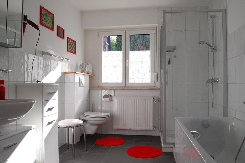Badezimmer mit Duschkabine, Badewanne, Toilette, helles Fenster
