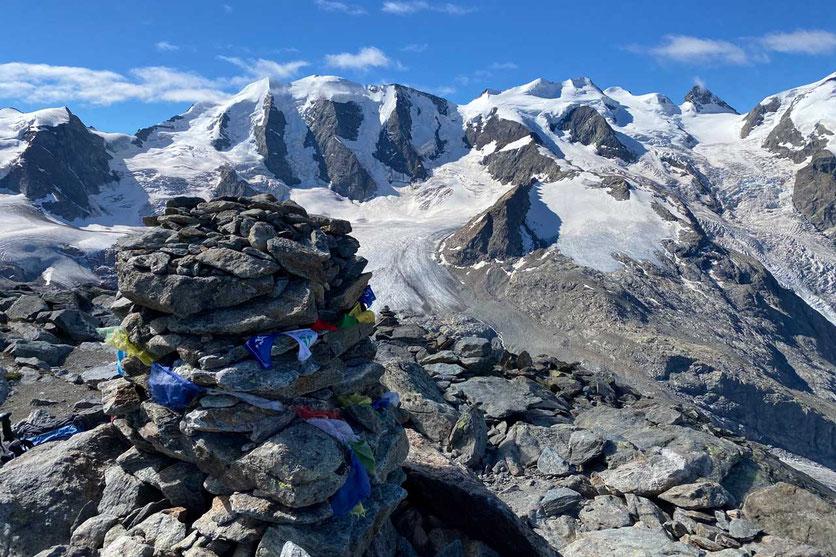 Ausblick vom Munt Pers auf Piz Palü, Wanderung Diavolezza Bergstation