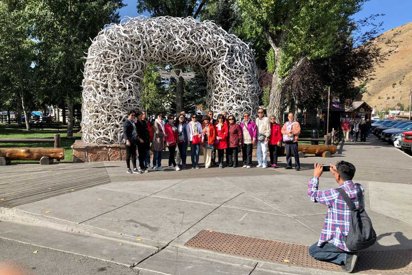 Geweih Torbogen am Jackson town Square Wyoming