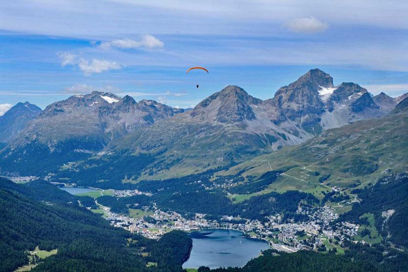 Ausblick von Muottas Muragl auf St. Moritz, Oberengadin