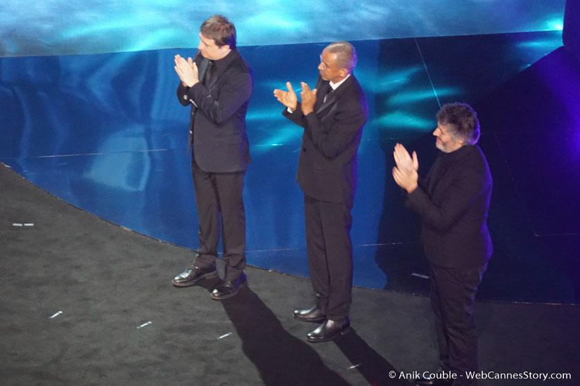 Cristian Mangiu,  Abderrahmane Sissako et Christophe Honoré,  lors de  l'hommage à  Isabelle Adjani  -  Festival de  Marrakech - Décembre 2016 - Photo © Anik Couble