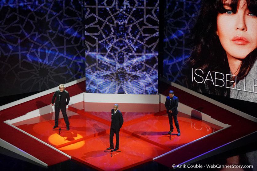 Christophe Honoré,  Abderrahmane Sissako et Cristian Mangiu,  lors de  l'hommage à  Isabelle Adjani  -  Festival de  Marrakech - Décembre 2016 - Photo © Anik Couble
