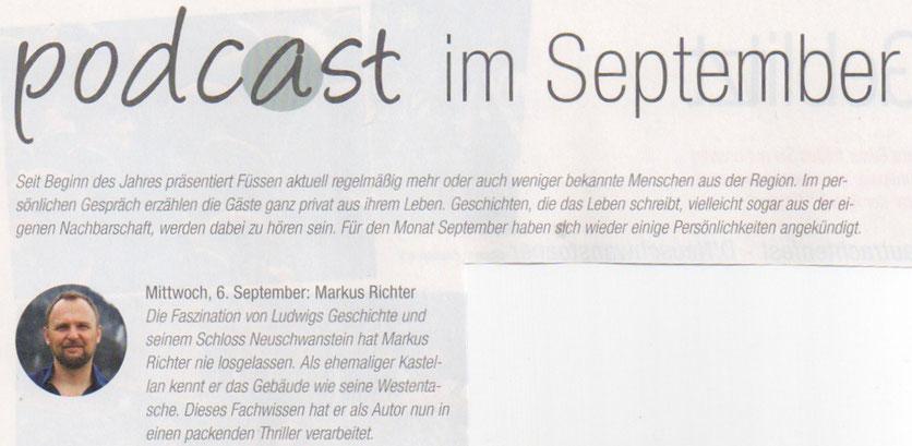 """Hinweis zum Podcast über Markus Richter und sein Buch """"Ins Herz - Neuschwanstein Thriller"""" im Magazin Füssen Aktuell - Ausgabe September 2017"""