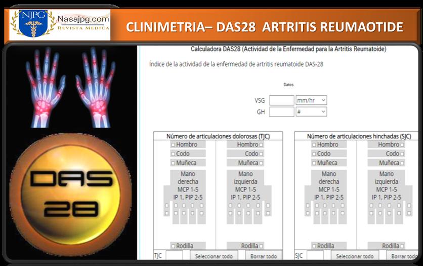 DAS28, Artritis Reumatoide, Clinimetria, Reumatologia DAS28 Calcular