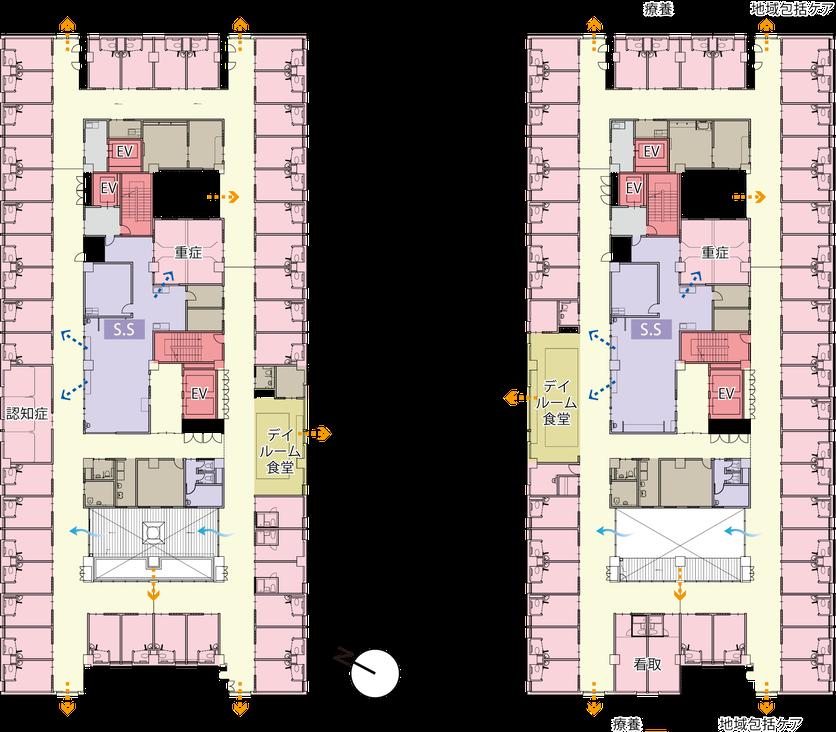3階(向かって左)と4階(基本設計書)