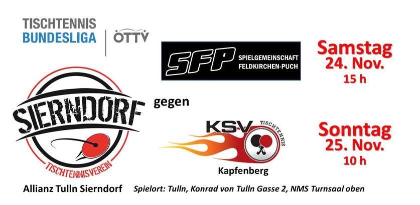 Unser Team (Tomas Janci, Martin Kinslechner, Andreas Hammerschmid) trifft in den letzten beiden Heimrunden der Herbstsaison auf SFP und Kapfenberg. Sorgen wir gemeinsam für eine tolle Stimmung in der Halle!